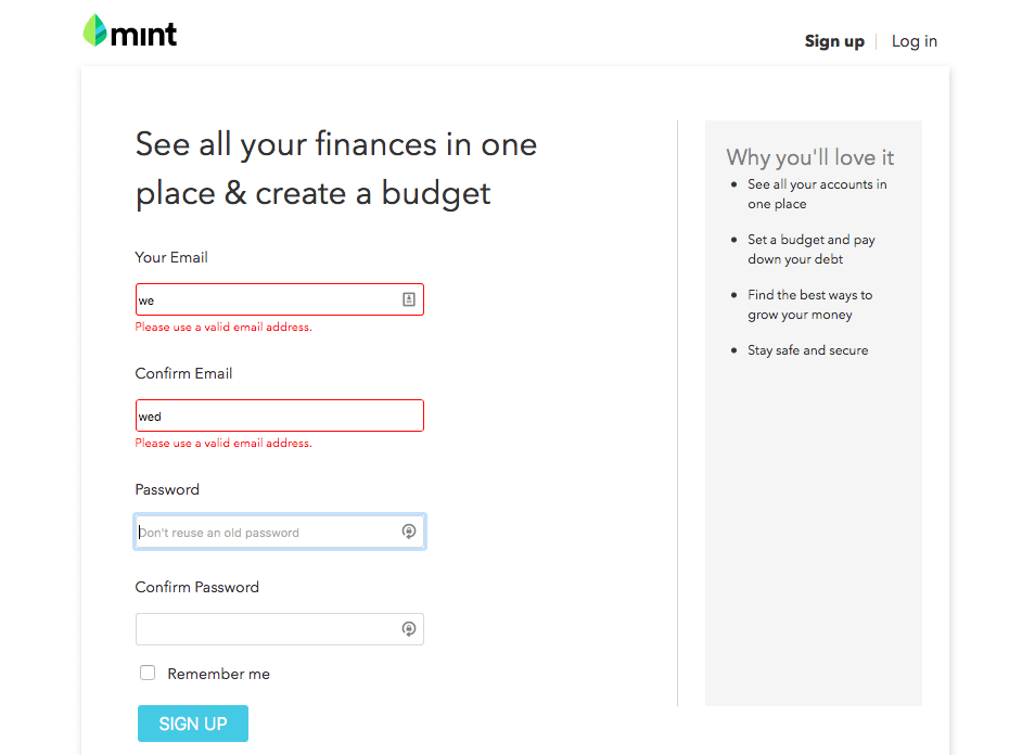 Mint sign-up form with validation